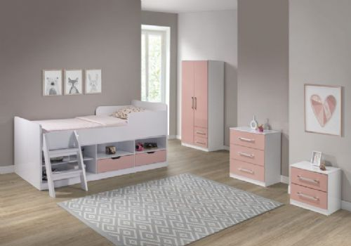 Jasper Low Sleeper Bed (Pink Gloss/White)